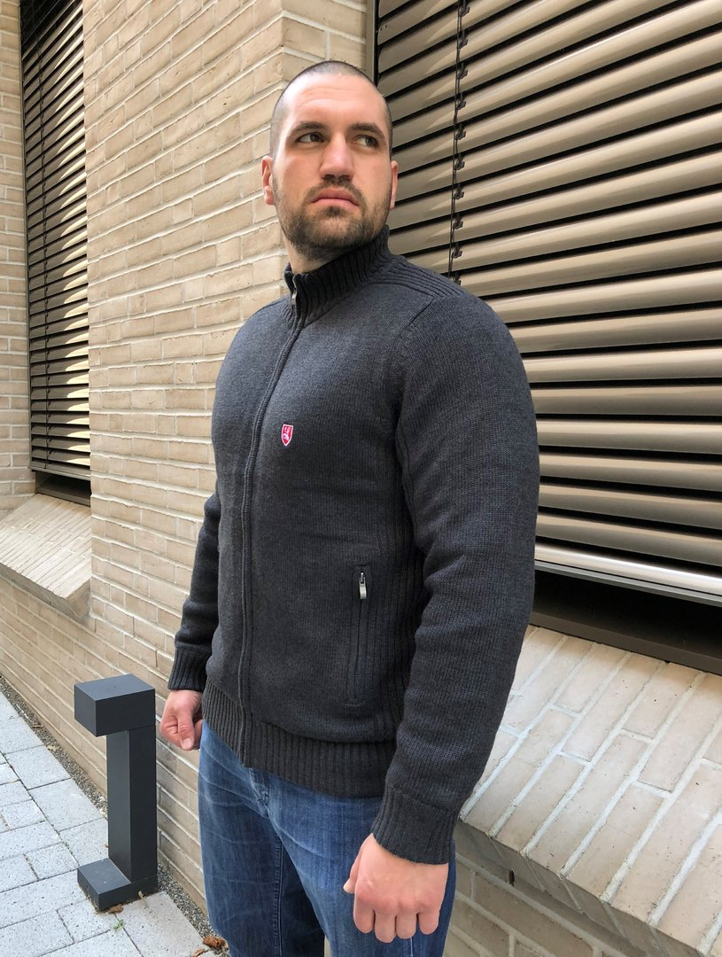 "Winter Cardigan ""Buckler"" dark grey with fleece lining"