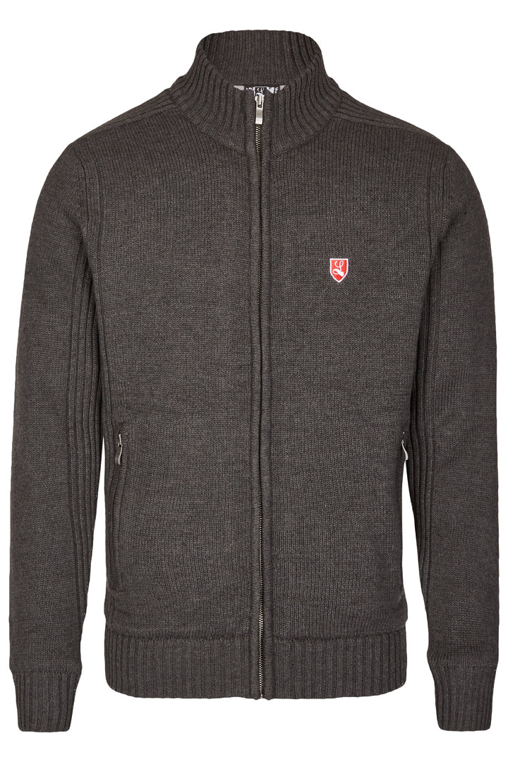 "Cardigan ""Buckler"" dark grey with fleece lining"