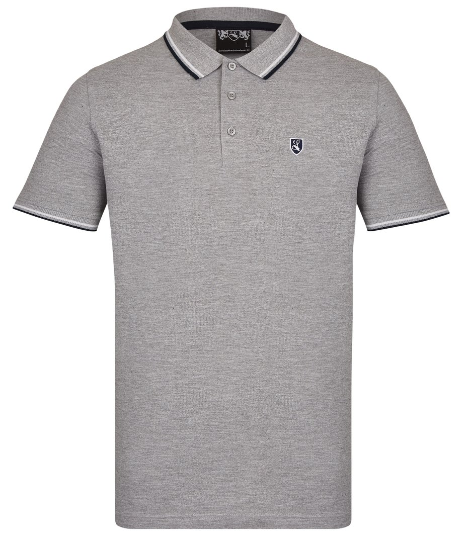 "Tipped Polo-Shirt ""Buckler"" grau"
