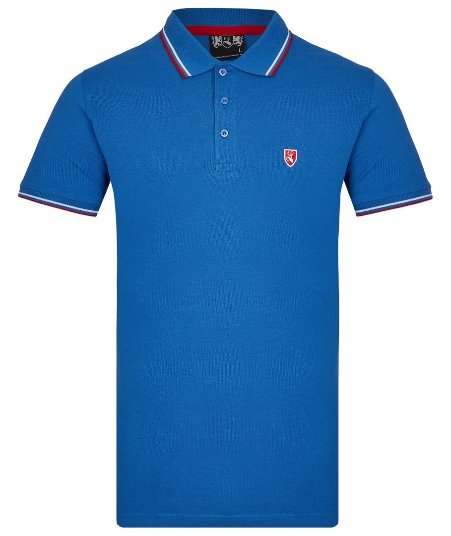 "Tipped Polo-Shirt ""Buckler"" royal blau"
