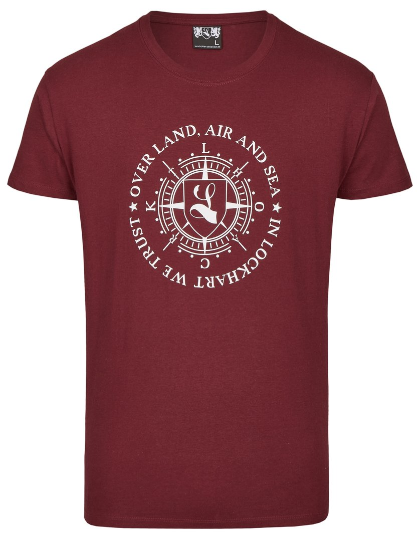 "T-Shirt ""Over Land, Air and Sea"" burgundy"
