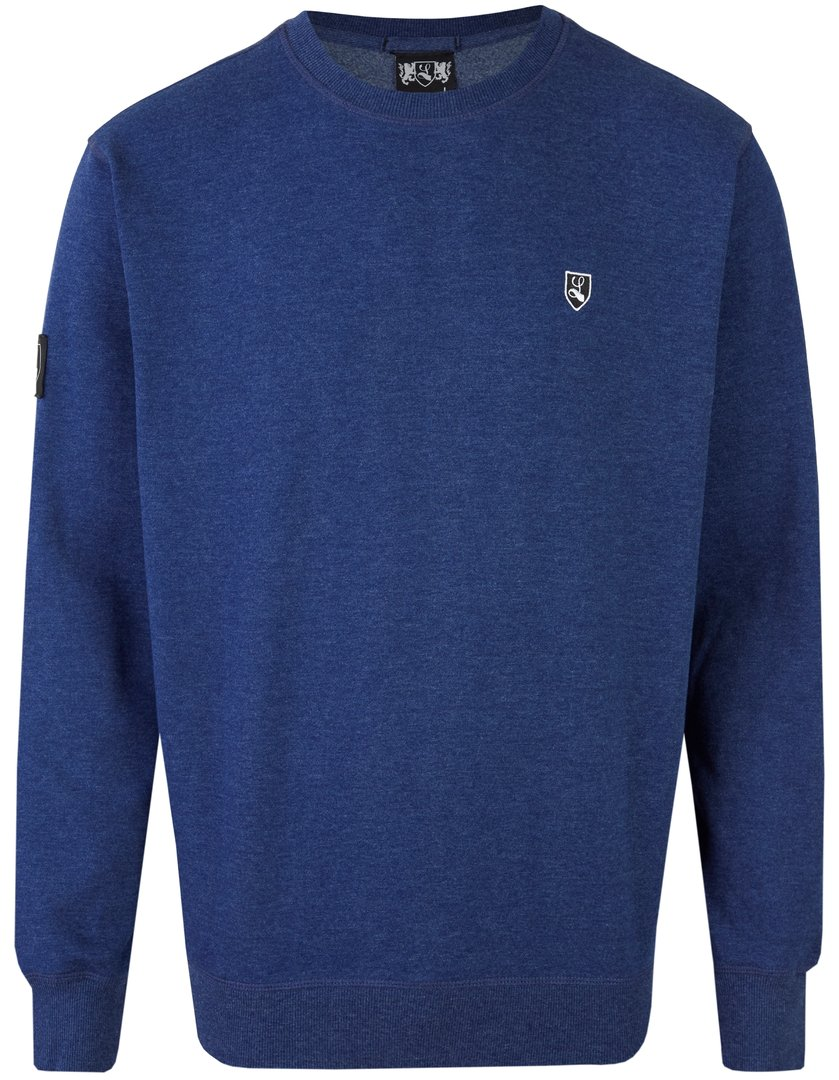 "Sweat-Shirt ""Buckler"" mit Seitentasche blau meliert"