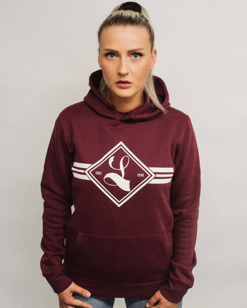 "Ladies Hoodie ""Square"" burgundy"